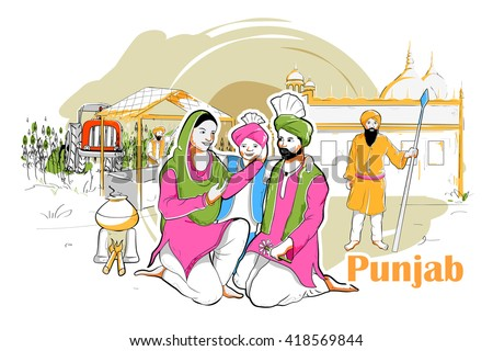 easy to edit vector illustration of people and culture of Punjab, India - stock vector