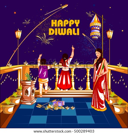 easy to edit vector illustration of people celebrating Happy Diwali holiday India background