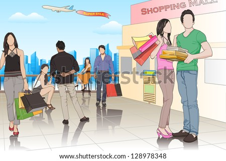 easy to edit vector illustration of people in shopping mall - stock vector
