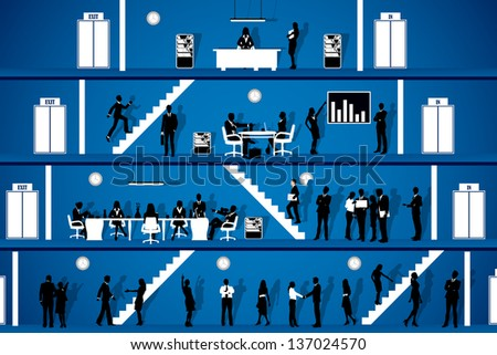 easy to edit vector illustration of people working in office workplace - stock vector
