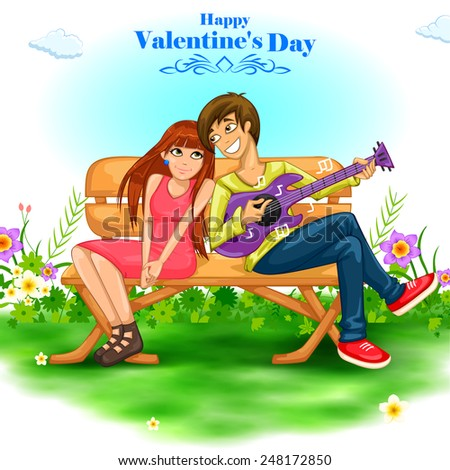 easy to edit vector illustration of romantic young couple playing guitar on Valentine's Day - stock vector