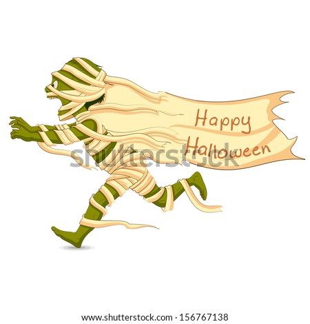 easy to edit vector illustration of running Halloween Mummy - stock vector
