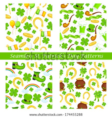 easy to edit vector illustration of Saint Patrick's Day seamless pattern - stock vector