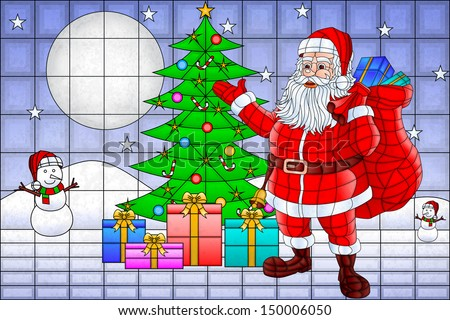 easy to edit vector illustration of Santa Claus with Christmas Tree