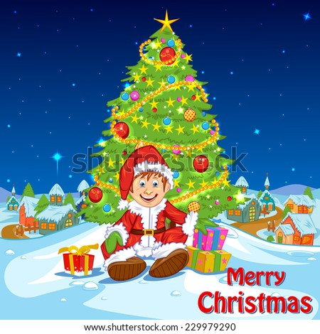 easy to edit vector illustration of  Santa with Christmas gifts - stock vector