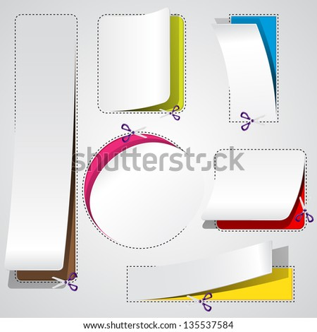 easy to edit vector illustration of scissor cutting advertising coupon - stock vector