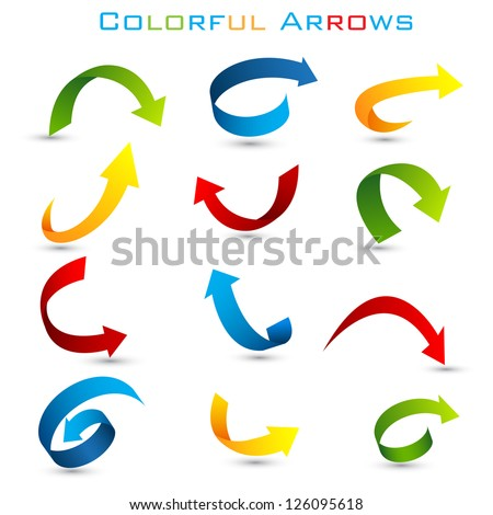 easy to edit vector illustration of set of colorful arrow - stock vector