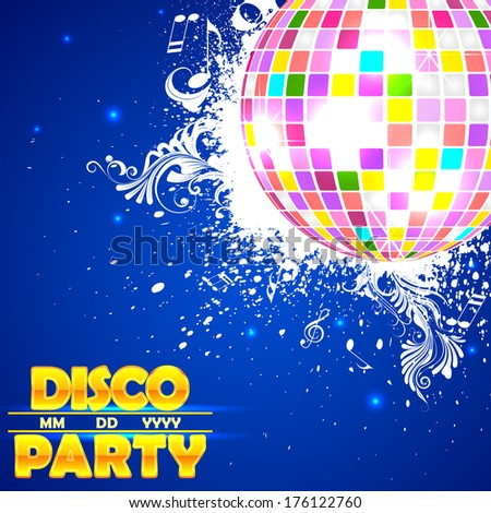 easy to edit vector illustration of shiny disco ball on abstract background - stock vector