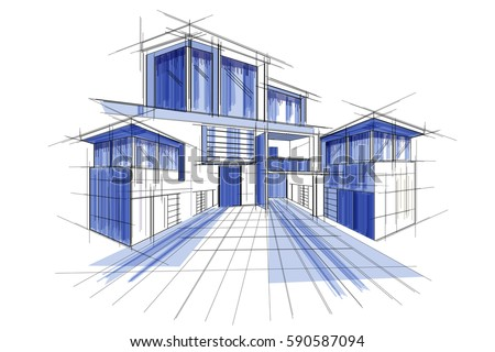 Easy edit vector illustration sketch exterior vectores en stock easy to edit vector illustration of sketch of exterior building draft blueprint design malvernweather Gallery