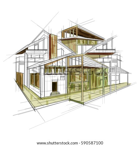 Easy edit vector illustration sketch exterior stock vector 590587100 easy to edit vector illustration of sketch of exterior building draft blueprint design malvernweather Image collections