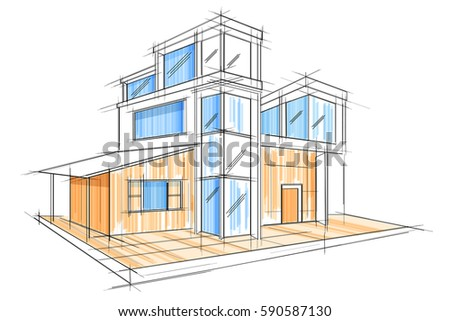 Easy edit vector illustration sketch exterior stock vector 590587130 easy to edit vector illustration of sketch of exterior building draft blueprint design malvernweather Choice Image