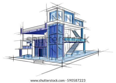 Easy edit vector illustration sketch exterior stock vector royalty easy to edit vector illustration of sketch of exterior building draft blueprint design malvernweather Image collections