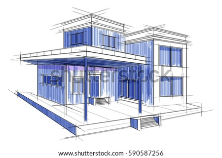 Easy edit vector illustration sketch exterior stock vector 590587256 easy to edit vector illustration of sketch of exterior building draft blueprint design malvernweather Images