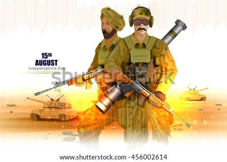 easy to edit vector illustration of Soldier on Indian Independence Day celebration background