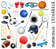 easy to edit vector illustration of sports equipments - stock vector