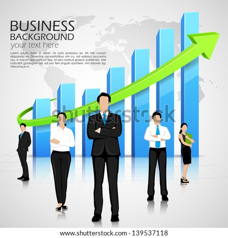 easy to edit vector illustration of successful business team infront of graph - stock vector