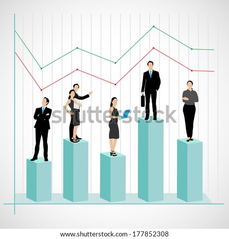easy to edit vector illustration of successful business team on graph