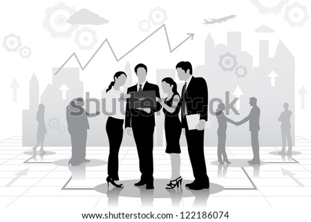 easy to edit vector illustration of successful businessteam planning work - stock vector