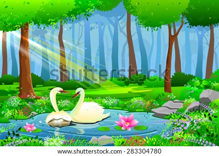 easy to edit vector illustration of Swan on Lake Natural  landscape - stock vector