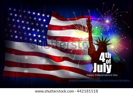 easy to edit vector illustration of 4th July, Independence day of America - stock vector
