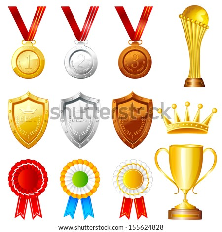 easy to edit vector illustration of Trophy and Awards - stock vector