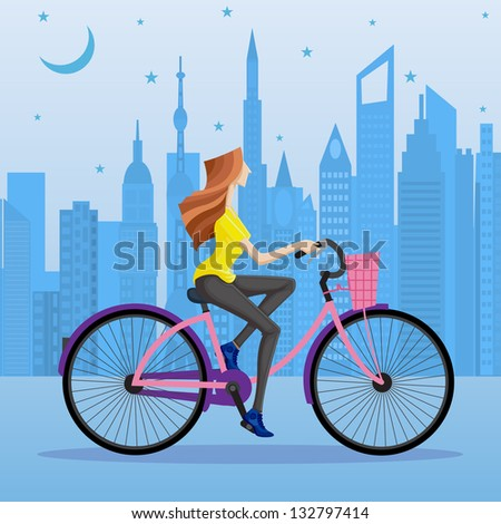 easy to edit vector illustration of woman cycling in urban city - stock vector