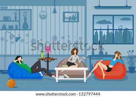 easy to edit vector illustration of women chatting and relaxing in couch - stock vector