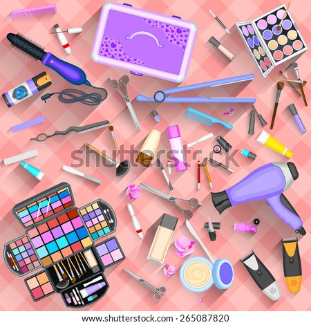 easy to edit vector illustration of working table of beautician - stock vector