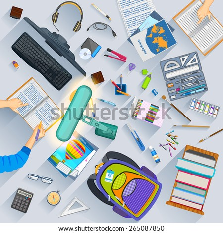 easy to edit vector illustration of working table of student - stock vector