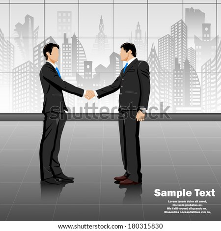 easy to edit vector illustration of young businessman doing handshake - stock vector