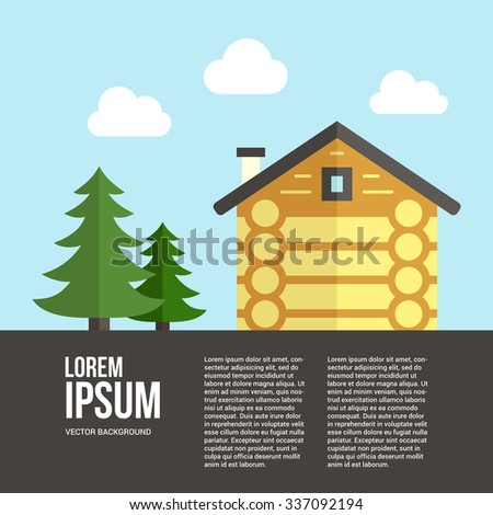 Easy to edit vector template for woodwork industry with modern log house. Modern design element for flyer template, advertisement or commercial add. - stock vector