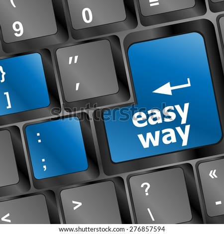 easy way button on computer keyboard pc key vector  - stock vector