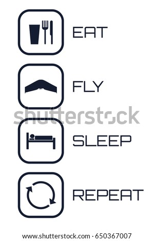 Eat Fly Sleep Repeat Icons. Funny schedule for flying wings pilots.