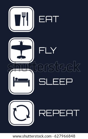 Eat Fly Sleep Repeat Icons on blue background.