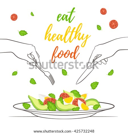 Eat healthy food concept. Fresh salad from avocado, tomatoes and eggs on plate isolated on white background. Vector illustration of salad with hands holding fork and knife in sketch style. - stock vector