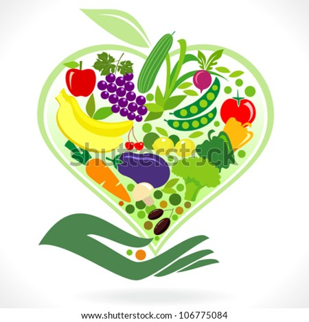 Eat Healthy Fruits and Vegetables - stock vector