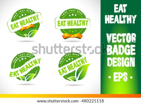 Eat healthy Vector Logo badge label seal stamp logo text design green leaf template vector eps