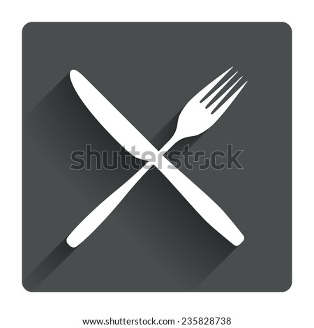Eat sign icon. Cutlery symbol. Fork and knife crosswise. Gray flat square button with shadow. Modern UI website navigation. Vector - stock vector