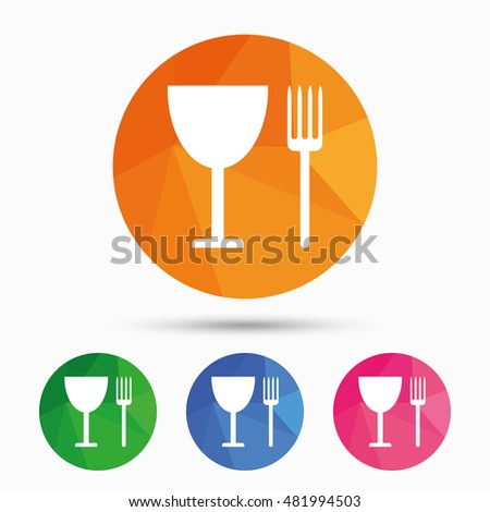 Eat sign icon. Cutlery symbol. Fork and wineglass. Triangular low poly button with flat icon. Vector