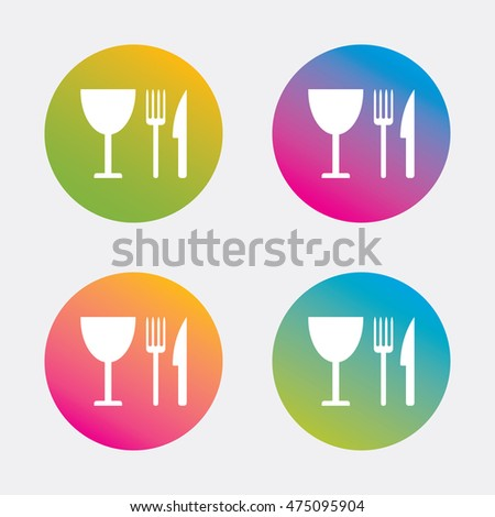 Eat sign icon. Cutlery symbol. Knife, fork and wineglass. Gradient flat buttons with icon. Modern design. Vector