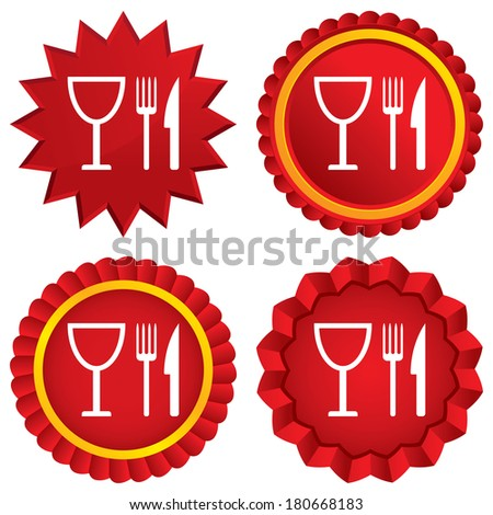 Eat sign icon. Cutlery symbol. Knife, fork and wineglass. Red stars stickers. Certificate emblem labels. Vector