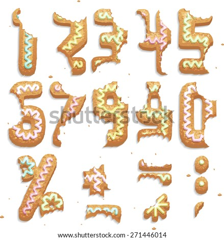 Eat some special cookies, Part 2/2 Numbers - stock vector
