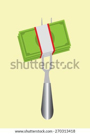 eating banknotes symbolizing consumerism, vector illustration - stock vector