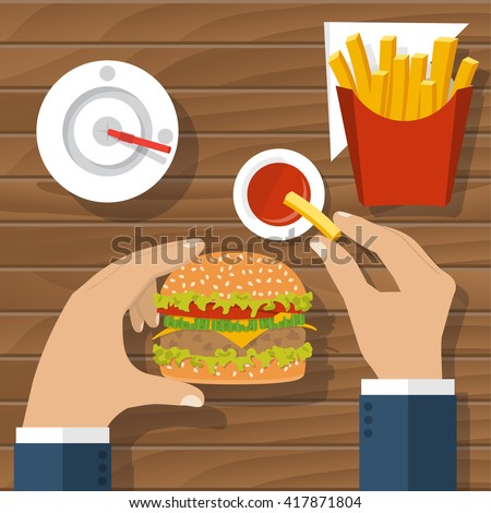 Eating hamburger. Eating fast food. Man at table eating fast food, burger, fries, drink cola, tomato sauce. Hamburger hand. Concept of unhealthy diet. Vector flat design. Holding hamburger. Nutrition - stock vector