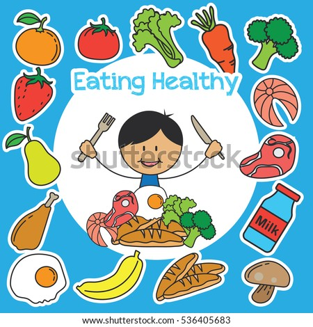 Eating Healthy Kids Campaign Poster Stock Vector 536405683 ...