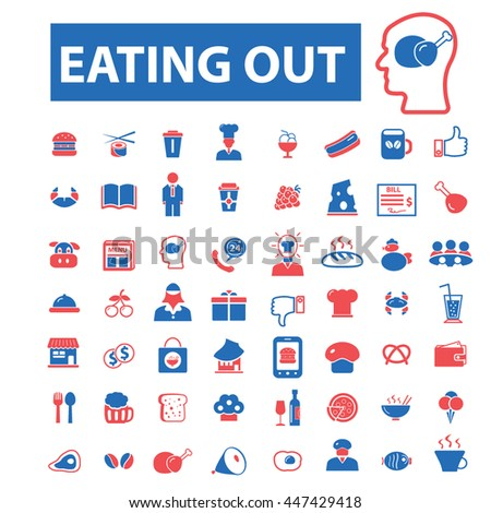 Eating out, restaurant concept icons: hotel services, menu, dining, pizza, bill, beer, cafe, fast food, cafeteria, beverage, hot dog, bbq, cooking, pub. Vector illustration - stock vector