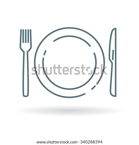 Eating utensils icon. Knife fork and plate sign. Dining cutlery and crockery symbol. Thin line icon on white background. Vector illustration. - stock vector