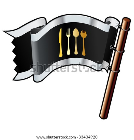 Eating utensils icon on black, silver, and gold vector flag good for use on websites, in print, or on promotional materials