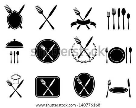 eating utensils icons - stock vector