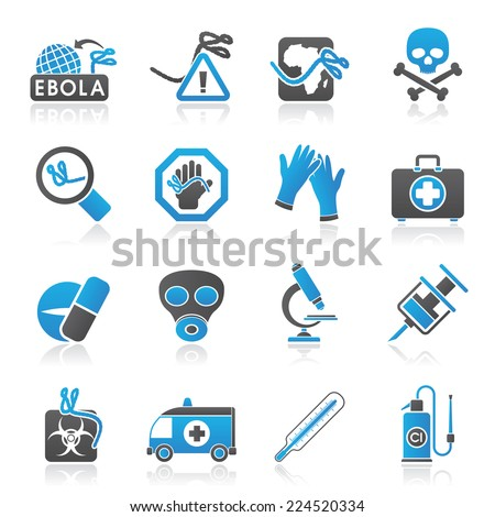 Ebola pandemic icons - vector icon set - stock vector